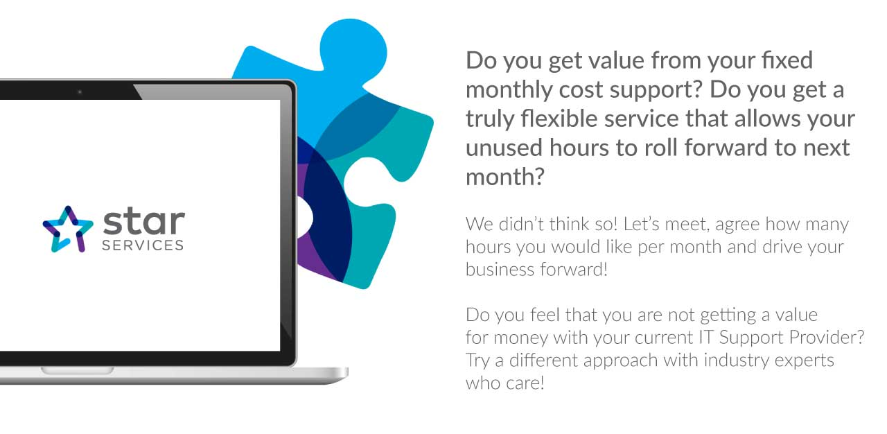 Do you get value from your fixed monthly cost support? Do you get a truly flexible service that allows your unused hours to roll forward to next month? We didn't think so! Let's meet, agree how many hours you would like per month and drive your business forward! Do you feel that you are not getting a value for money with your current IT Support Provider? Try a different approach with industry experts who care! Solab – your local IT Experts.