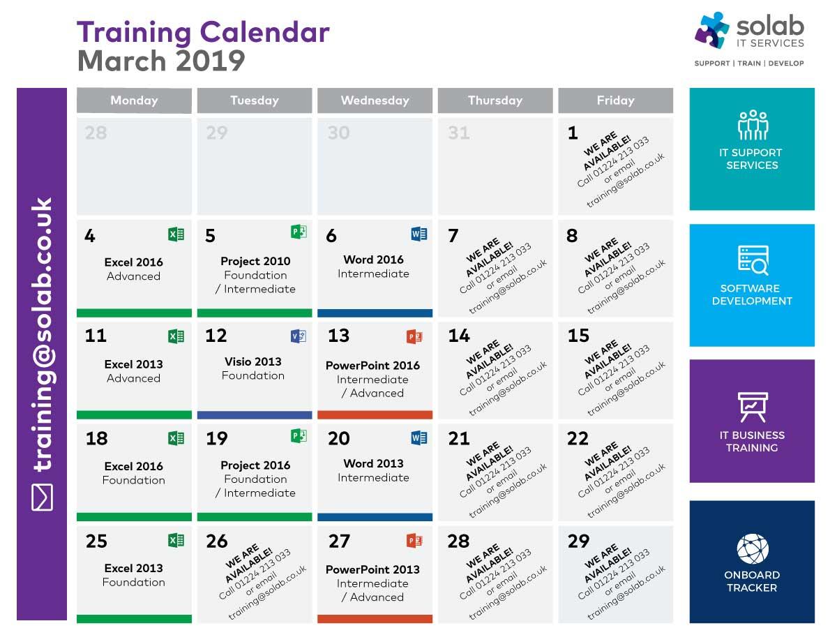 Solab Training Calendar March 2019 Microsoft Courses in Aberdeen
